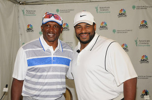 Jerome Bettis and Tim Brown at the American Century Golf Championship